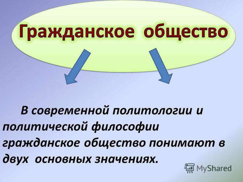 В современной политологии и политической философии гражданское общество понимают в двух основных значениях.