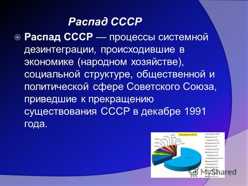 Распад СССР процессы системной дезинтеграции, происходившие в экономике (народном хозяйстве), социальной структуре, общественной и политической сфере Советского Союза, приведшие к прекращению существования СССР в декабре 1991 года. Распад СССР