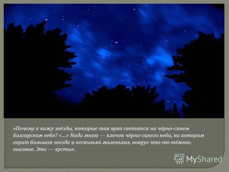 « Почему я вижу звёзды, которые так ярко светятся на чёрно - синем болгарском небе ? Надо мною клочок чёрно - синего неба, на котором горит большая звезда и несколько маленьких, вокруг что - то тёмное, высокое. Это кусты ».