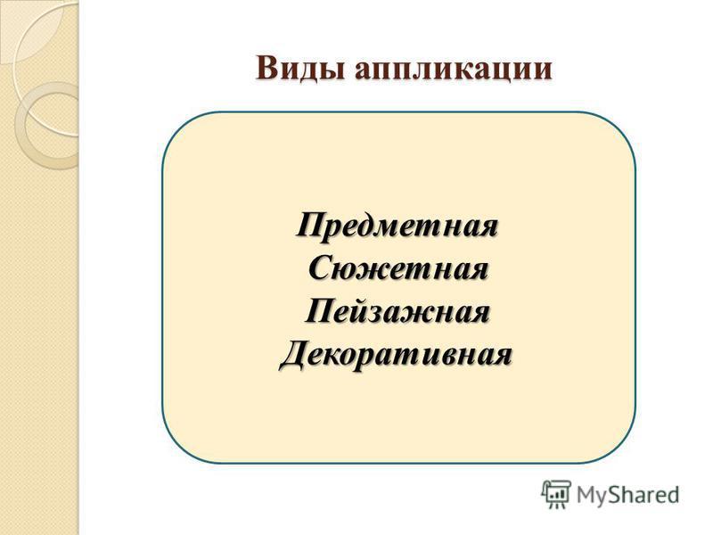 Виды аппликации Предметная СюжетнаяПейзажная Декоративная