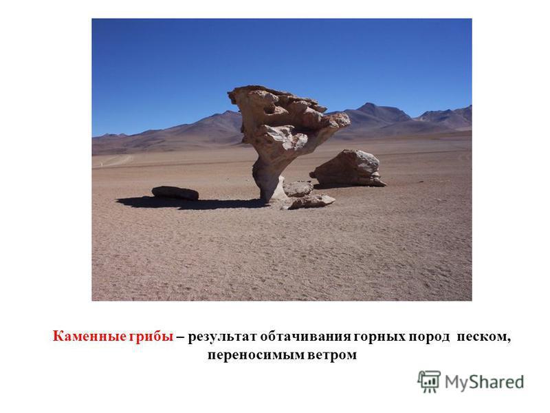 Каменные грибы – результат обтачивания горных пород песком, переносимым ветром
