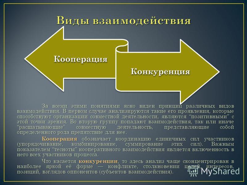 За всеми этими понятиями ясно виден принцип различных видов взаимодействия. В первом случае анализируются такие его проявления, которые способствуют организации совместной деятельности, являются позитивными с этой точки зрения. Во вторую группу попад