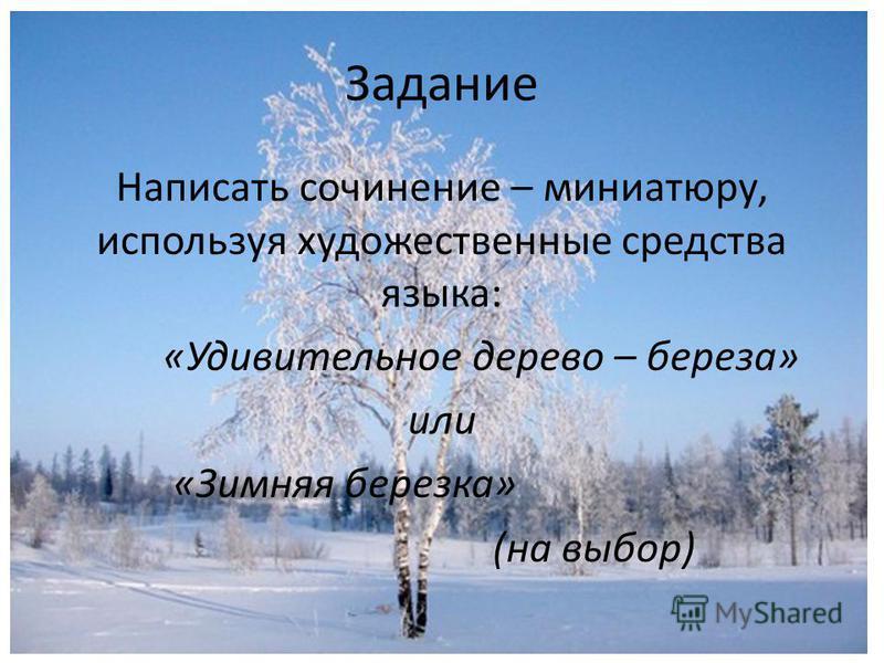 Задание Написать сочинение – миниатюру, используя художественные средства языка: «Удивительное дерево – береза» или «Зимняя березка» (на выбор)