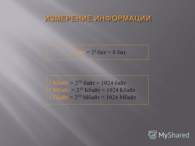 1 байт = 2 3 бит = 8 бит 1 Кбайт = 2 10 байт = 1024 байт 1 Мбайт = 2 10 Кбайт = 1024 Кбайт 1 Гбайт = 2 10 Мбайт = 1024 Мбайт