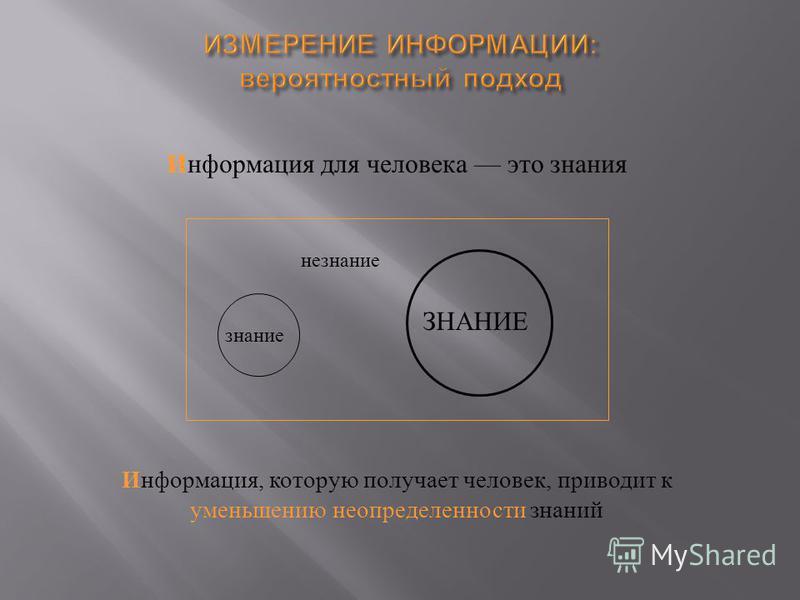 Информация для человека это знания знание ЗНАНИЕ Информация, которую получает человек, приводит к уменьшению неопределенности знаний незнание