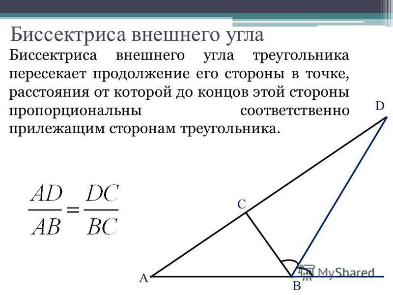 Биссектриса внешнего угла Биссектриса внешнего угла треугольника пересекает продолжение его стороны в точке, расстояния от которой до концов этой стороны пропорциональны соответственно прилежащим сторонам треугольника. C B A D