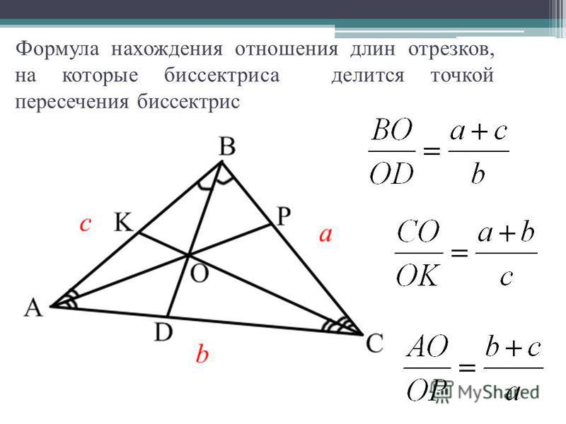 Формула нахождения отношения длин отрезков, на которые биссектриса делится точкой пересечения биссектрис