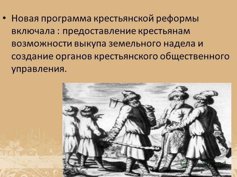 Новая программа крестьянской реформы включала : предоставление крестьянам возможности выкупа земельного надела и создание органов крестьянского общественного управления.