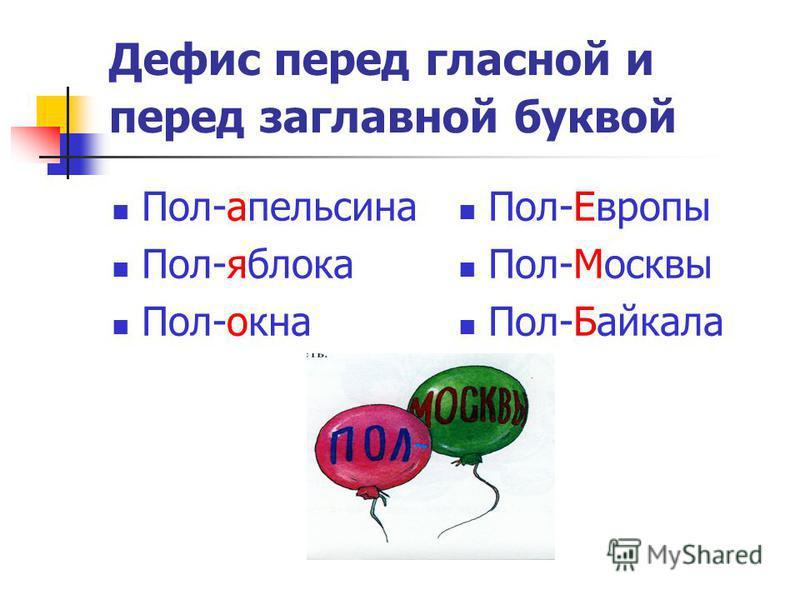 Дефис перед гласной и перед заглавной буквой Пол-апельсина Пол-яблока Пол-окна Пол-Европы Пол-Москвы Пол-Байкала