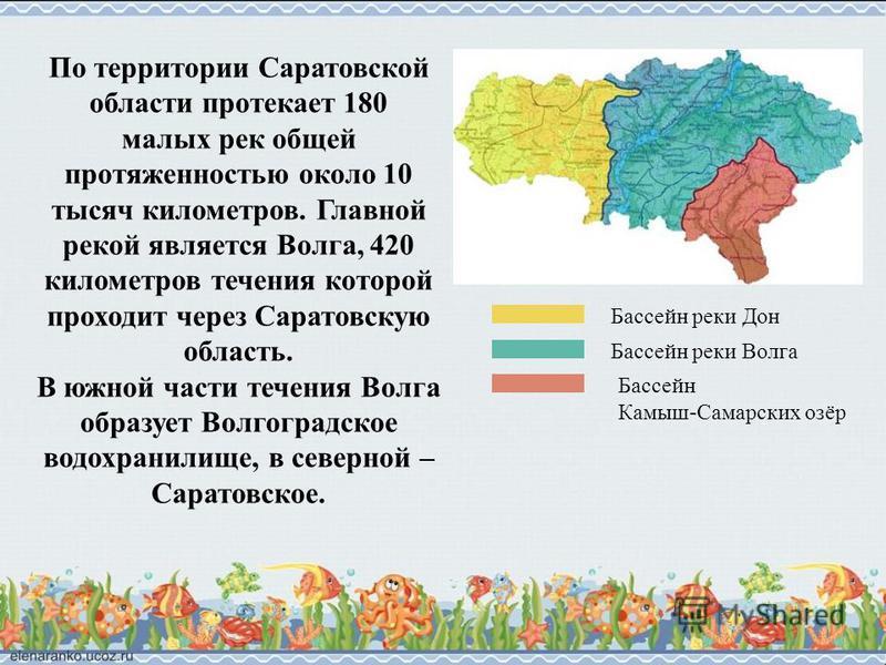 По территории Саратовской области протекает 180 малых рек общей протяженностью около 10 тысяч километров. Главной рекой является Волга, 420 километров течения которой проходит через Саратовскую область. В южной части течения Волга образует Волгоградс