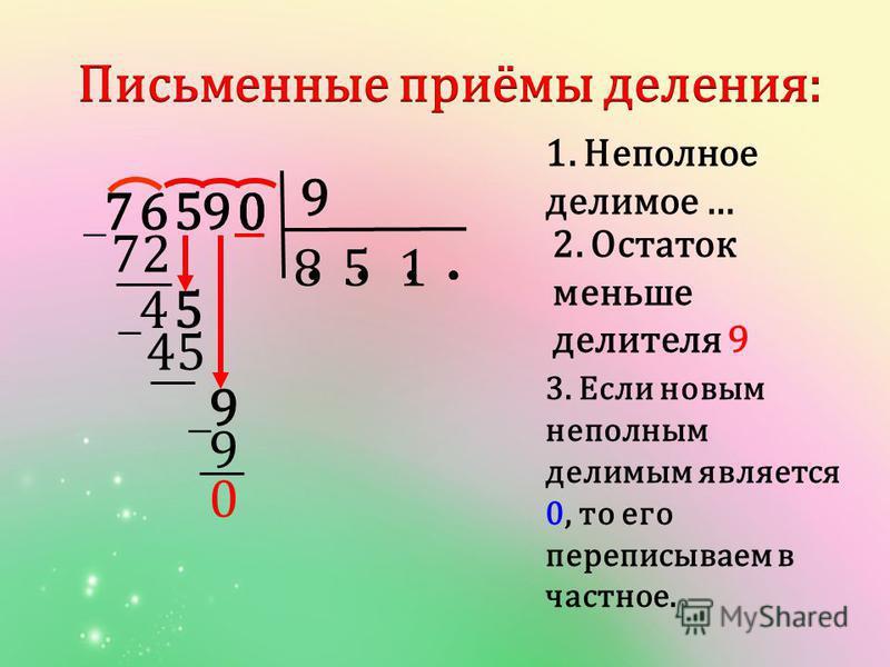 9 1. Неполное делимое … 05769 8 72 5 5 9 0 4 2. Остаток меньше делителя 9 45 0 1 9 3. Если новым неполным делимым является 0, то его переписываем в частное.