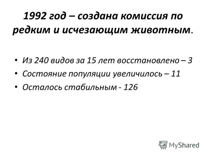 1992 год – создана комиссия по редким и исчезающим животным. Из 240 видов за 15 лет восстановлено – 3 Состояние популяции увеличилось – 11 Осталось стабильным - 126