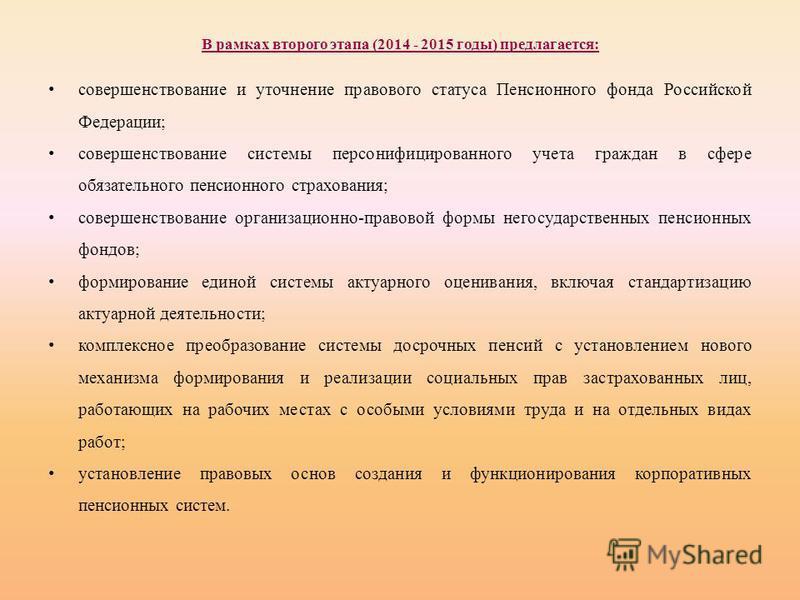 В рамках второго этапа (2014 - 2015 годы) предлагается: совершенствование и уточнение правового статуса Пенсионного фонда Российской Федерации; совершенствование системы персонифицированного учета граждан в сфере обязательного пенсионного страхования