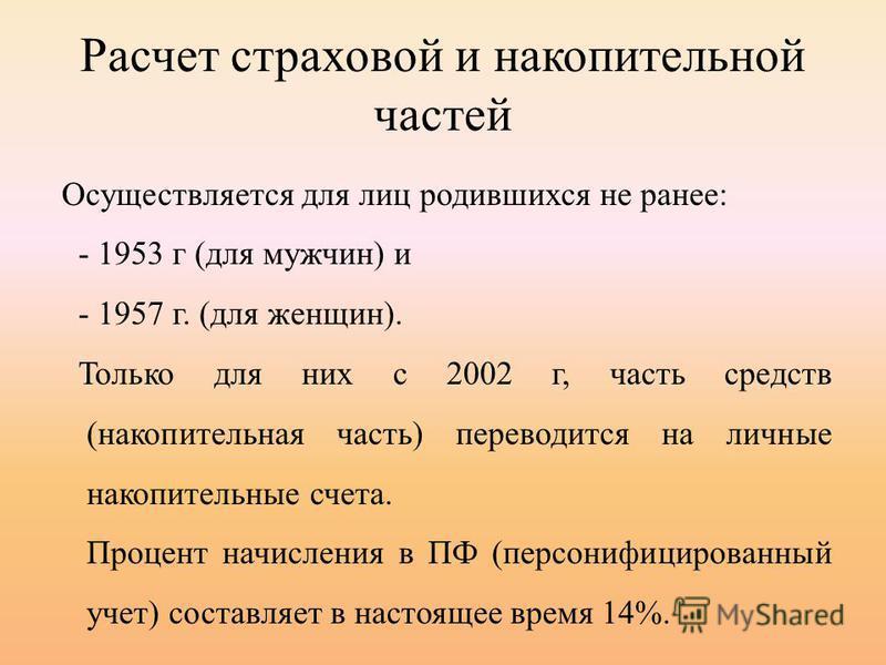 Расчет страховой и накопительной частей Осуществляется для лиц родившихся не ранее: - 1953 г (для мужчин) и - 1957 г. (для женщин). Только для них с 2002 г, часть средств (накопительная часть) переводится на личные накопительные счета. Процент начисл