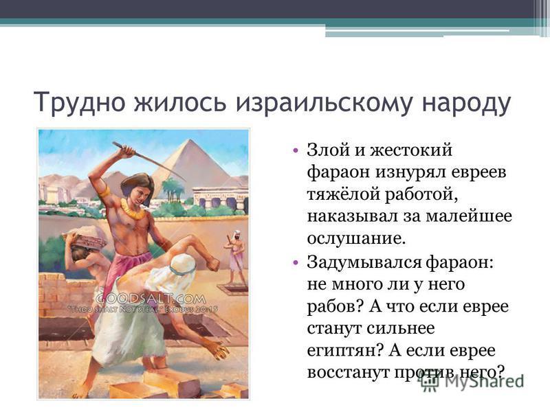 Трудно жилось израильскому народу Злой и жестокий фараон изнурял евреев тяжёлой работой, наказывал за малейшее ослушание. Задумывался фараон: не много ли у него рабов? А что если еврее станут сильнее египтян? А если еврее восстанут против него?