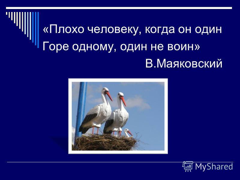 «Плохо человеку, когда он один Горе одному, один не воин» В.Маяковский