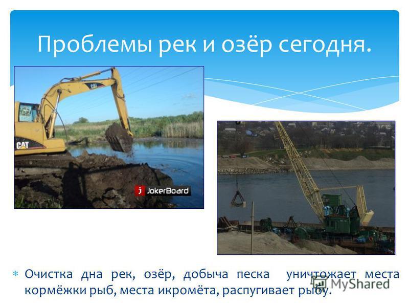 Очистка дна рек, озёр, добыча песка уничтожает места кормёжки рыб, места икромёта, распугивает рыбу. Проблемы рек и озёр сегодня.