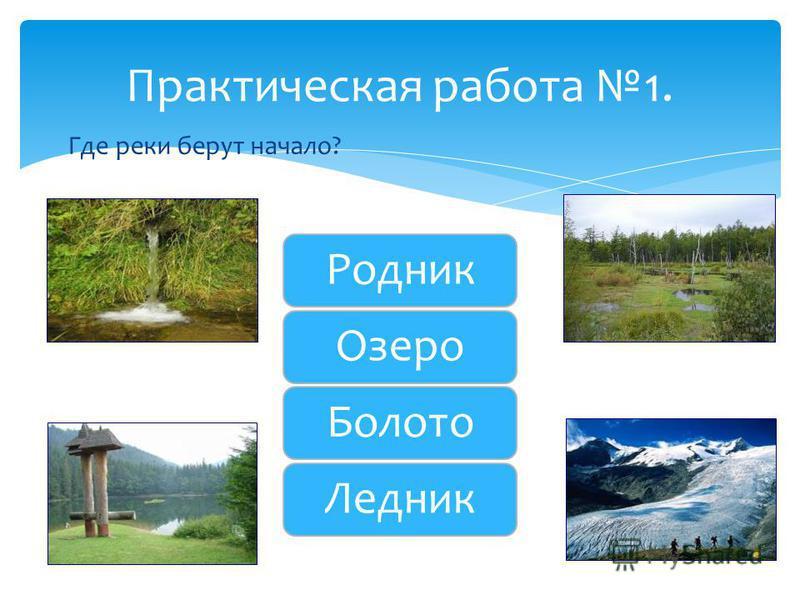 Где реки берут начало? Практическая работа 1. Родник Озеро Болото Ледник