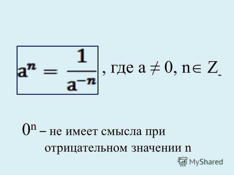 , где а 0, n Z- Z- 0 n – не имеет смысла при отрицательном значении n