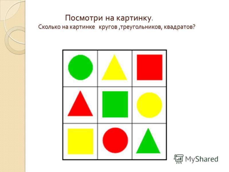 Посмотри на картинку. Сколько на картинке кругов, треугольников, квадратов ? Посмотри на картинку. Сколько на картинке кругов, треугольников, квадратов ?