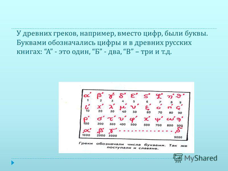 У древних греков, например, вместо цифр, были буквы. Буквами обозначались цифры и в древних русских книгах : А - это один, Б - два, В – три и т. д.