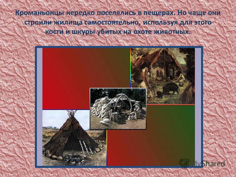 Кроманьонцы нередко поселялись в пещерах. Но чаще они строили жилища самостоятельно, используя для этого кости и шкуры убитых на охоте животных.