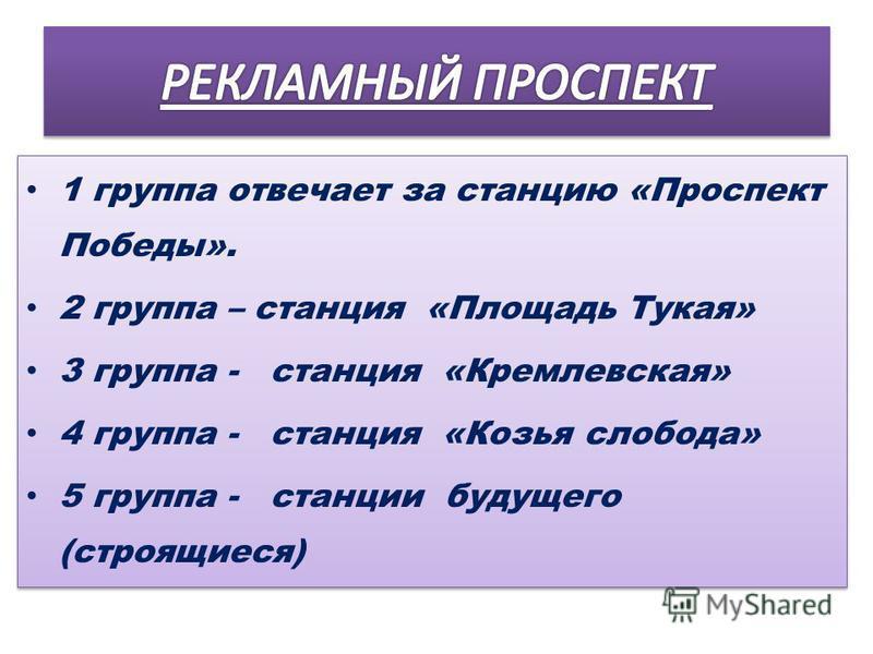 1 группа отвечает за станцию «Проспект Победы». 2 группа – станция «Площадь Тукая» 3 группа - станция «Кремлевская» 4 группа - станция «Козья слобода» 5 группа - станции будущего (строящиеся) 1 группа отвечает за станцию «Проспект Победы». 2 группа –