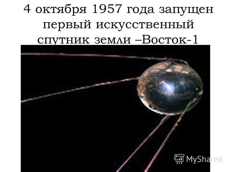 4 октября 1957 года запущен первый искусственный спутник земли –Восток-1