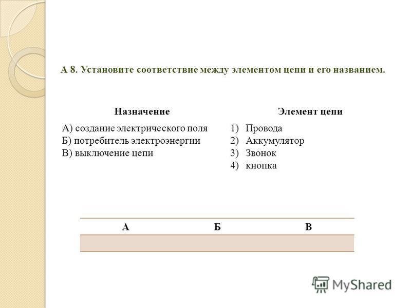 А 8. Установите соответствие между элементом цепи и его названием. НазначениеЭлемент цепи А) создание электрического поля Б) потребитель электроэнергии В) выключение цепи 1)Провода 2)Аккумулятор 3)Звонок 4)кнопка АБВ