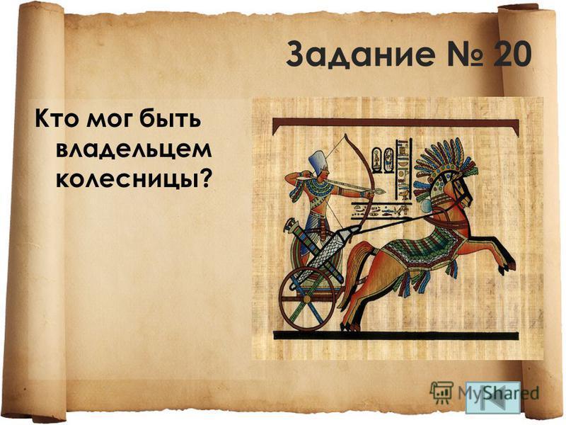 Задание 20 Кто мог быть владельцем колесницы?