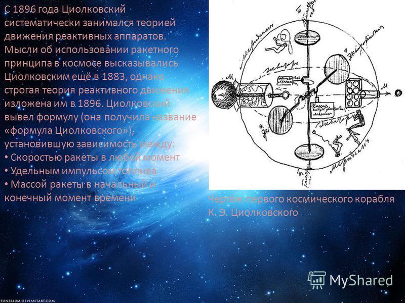 С 1896 года Циолковский систематически занимался теорией движения реактивных аппаратов. Мысли об использовании ракетного принципа в космосе высказывались Циолковским ещё в 1883, однако строгая теория реактивного движения изложена им в 1896. Циолковск