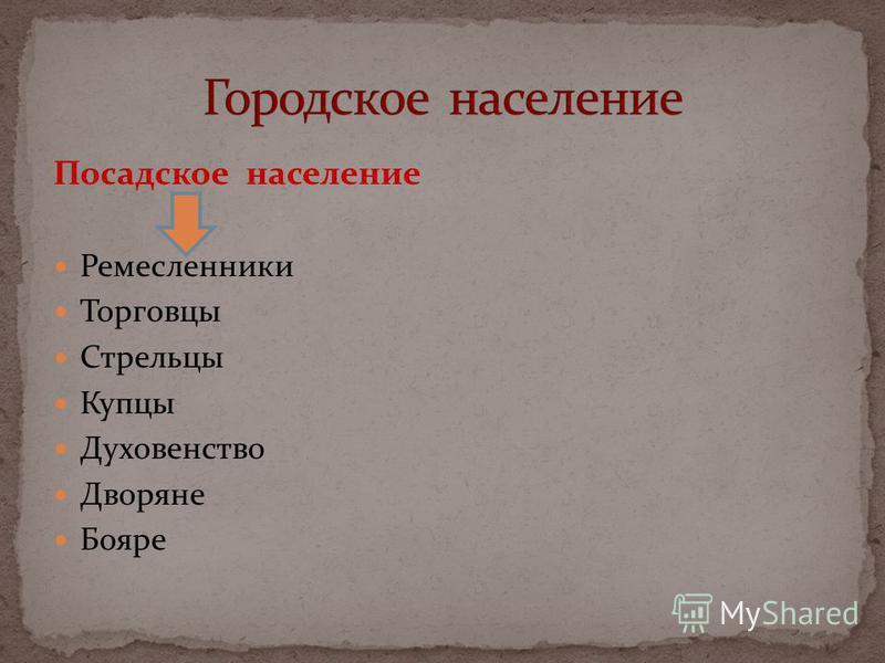 Посадское население Ремесленники Торговцы Стрельцы Купцы Духовенство Дворяне Бояре