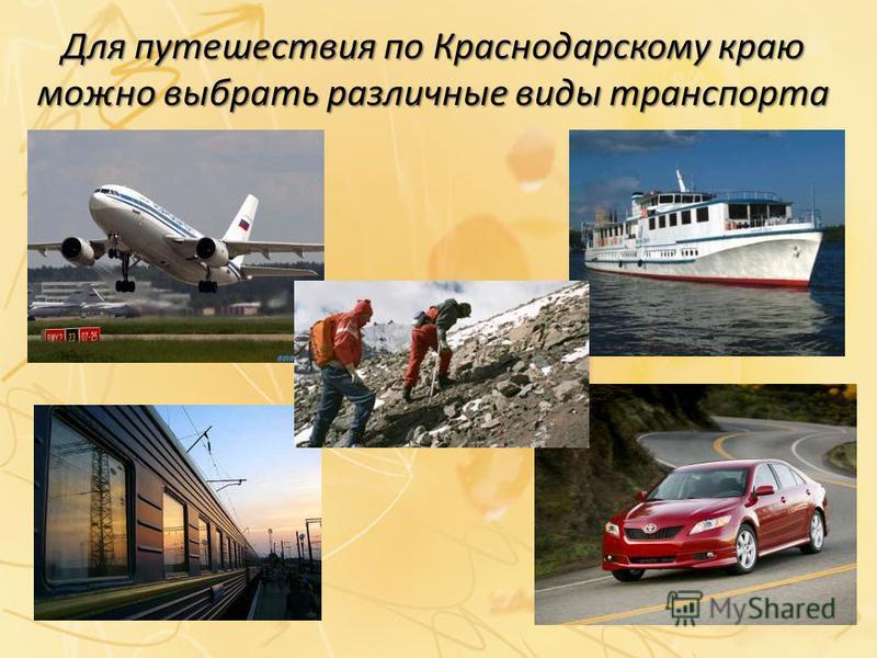 Для путешествия по Краснодарскому краю можно выбрать различные виды транспорта