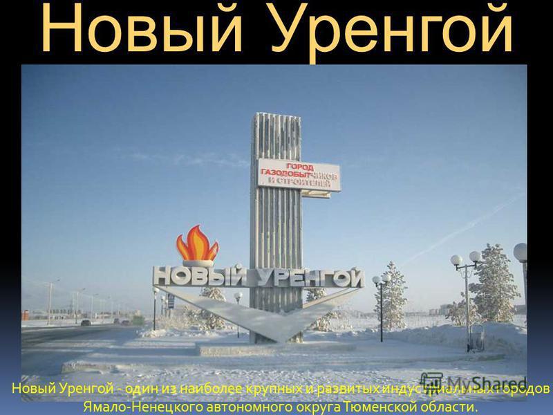 Новый Уренгой Новый Уренгой - один из наиболее крупных и развитых индустриальных городов Ямало-Ненецкого автономного округа Тюменской области.