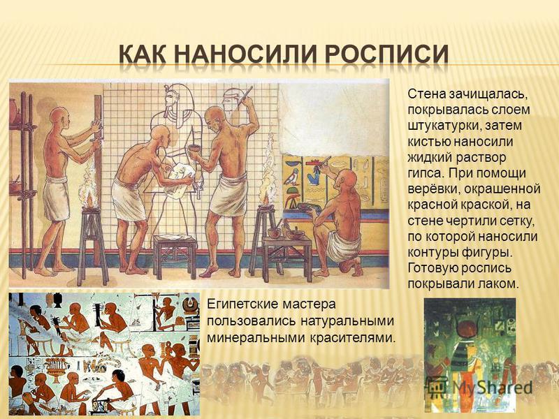 Стена зачищалась, покрывалась слоем штукатурки, затем кистью наносили жидкий раствор гипса. При помощи верёвки, окрашенной красной краской, на стене чертили сетку, по которой наносили контуры фигуры. Готовую роспись покрывали лаком. Египетские мастер
