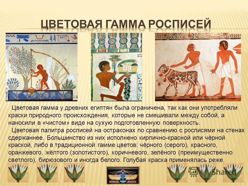 Цветовая гамма у древних египтян была ограничена, так как они употребляли краски природного происхождения, которые не смешивали между собой, а наносили в «чистом» виде на сухую подготовленную поверхность. Цветовая палитра росписей на остраконах по ср