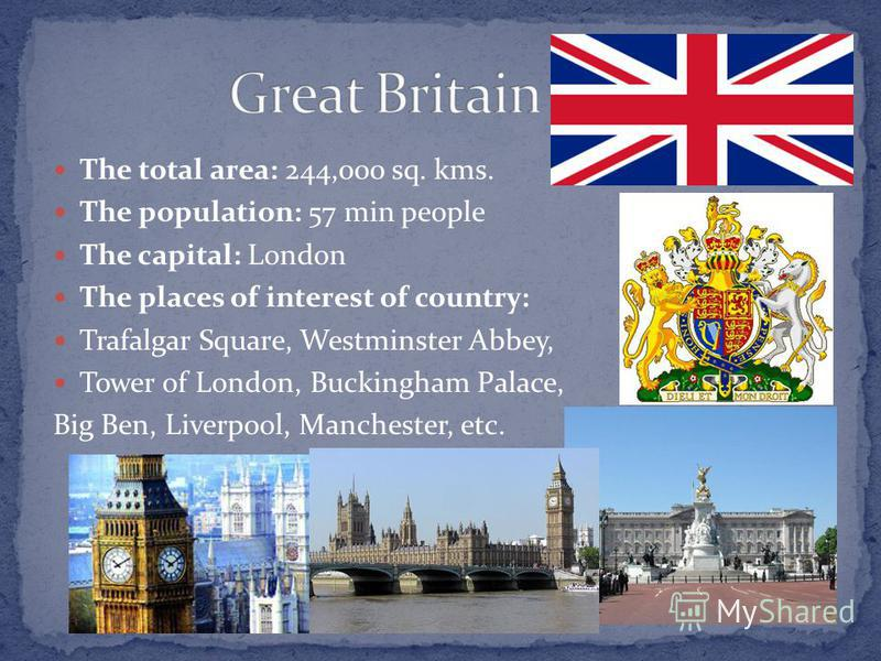 The total area: 244,000 sq. kms. The population: 57 min people The capital: London The places of interest of country: Trafalgar Square, Westminster Abbey, Tower of London, Buckingham Palace, Big Ben, Liverpool, Manchester, etc.