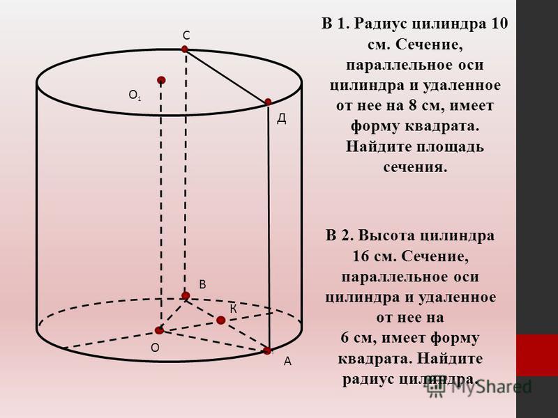 А В С Д О О1О1 К В 1. Радиус цилиндра 10 см. Сечение, параллельное оси цилиндра и удаленное от нее на 8 см, имеет форму квадрата. Найдите площадь сечения. В 2. Высота цилиндра 16 см. Сечение, параллельное оси цилиндра и удаленное от нее на 6 см, имее