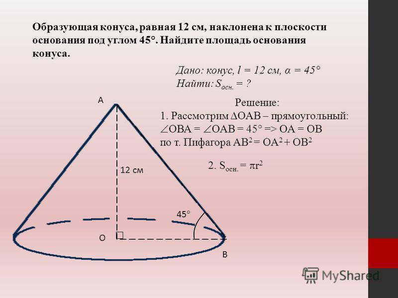 Образующая конуса, равная 12 см, наклонена к плоскости основания под углом 45°. Найдите площадь основания конуса. 12 см А О В 45° Дано: конус, l = 12 см, α = 45° Найти: S осн. = ? Решение: 1. Рассмотрим ОАВ – прямоугольный: ОВА = ОАВ = 45° => ОА = ОВ