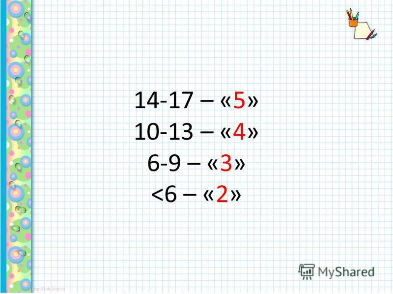 14-17 – «5» 10-13 – «4» 6-9 – «3»