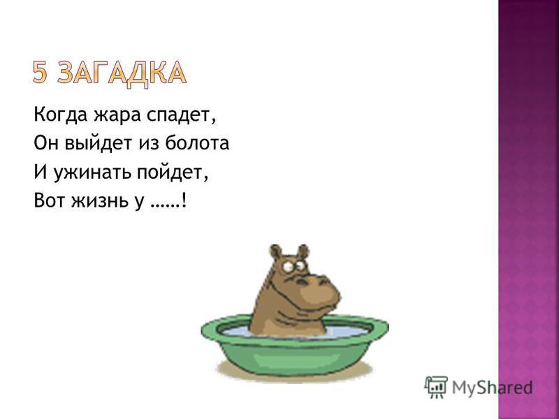 Когда жара спадет, Он выйдет из болота И ужинать пойдет, Вот жизнь у ……!