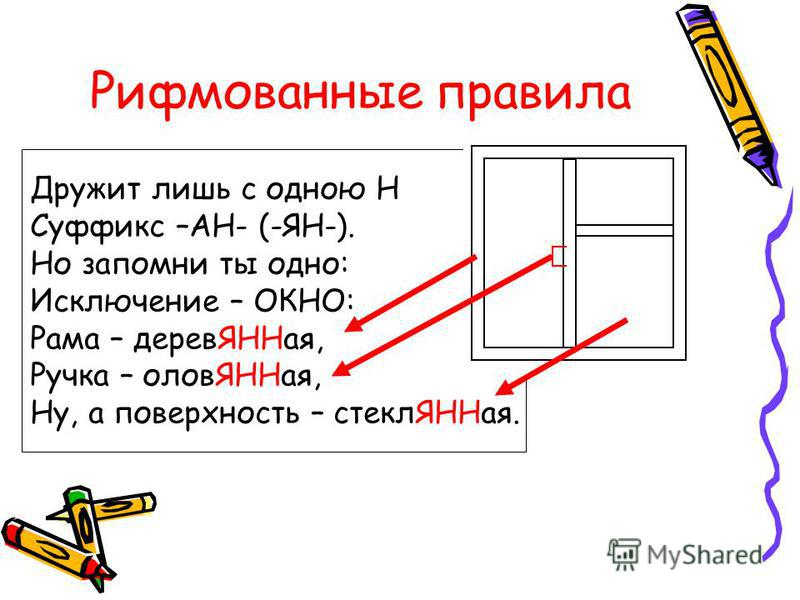 Рифмованные правила Дружит лишь с одною Н Суффикс –АН- (-ЯН-). Но запомни ты одно: Исключение – ОКНО: Рама – дерев ЯННая, Ручка – олов ЯННая, Ну, а поверхность – стекл ЯННая.