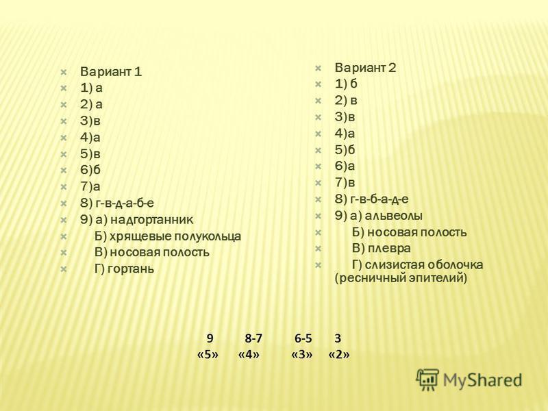 Вариант 1 1) а 2) а 3)в 4)а 5)в 6)б 7)а 8) г-в-д-а-б-е 9) а) надгортанник Б) хрящевые полукольца В) носовая полость Г) гортань Вариант 2 1) б 2) в 3)в 4)а 5)б 6)а 7)в 8) г-в-б-а-д-е 9) а) альвеолы Б) носовая полость В) плевра Г) слизистая оболочка (р