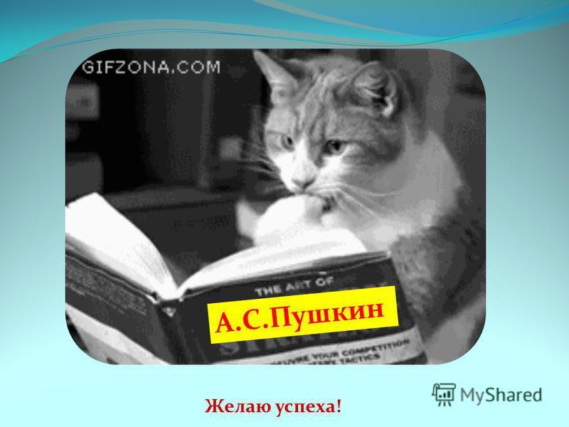 Желаю успеха! А.С.Пушкин