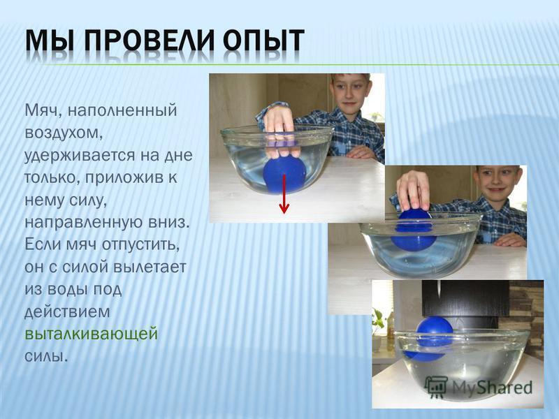 Мяч, наполненный воздухом, удерживается на дне только, приложив к нему силу, направленную вниз. Если мяч отпустить, он с силой вылетает из воды под действием выталкивающей силы.