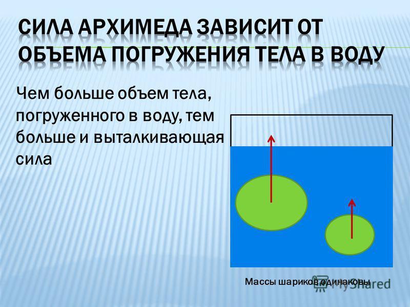 Чем больше объем тела, погруженного в воду, тем больше и выталкивающая сила Массы шариков одинаковы