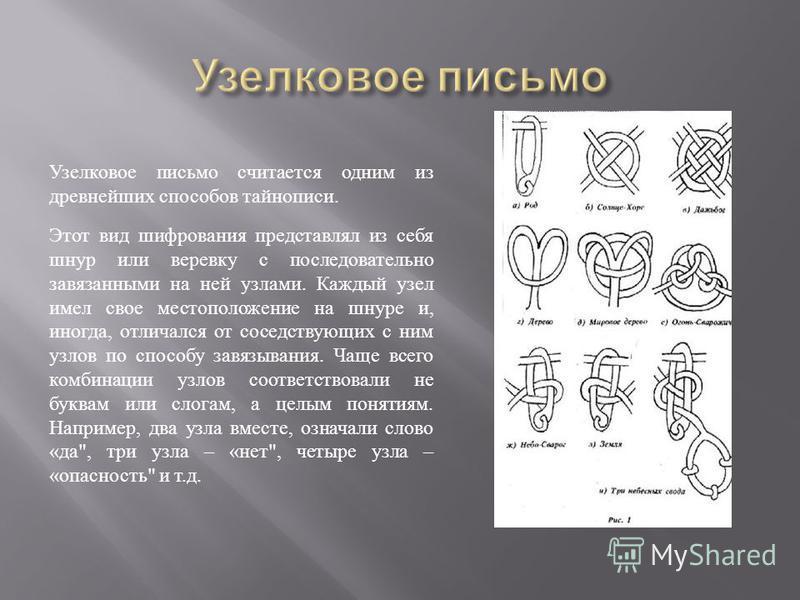 Узелковое письмо считается одним из древнейших способов тайнописи. Этот вид шифрования представлял из себя шнур или веревку с последовательно завязанными на ней узлами. Каждый узел имел свое местоположение на шнуре и, иногда, отличался от соседствующ