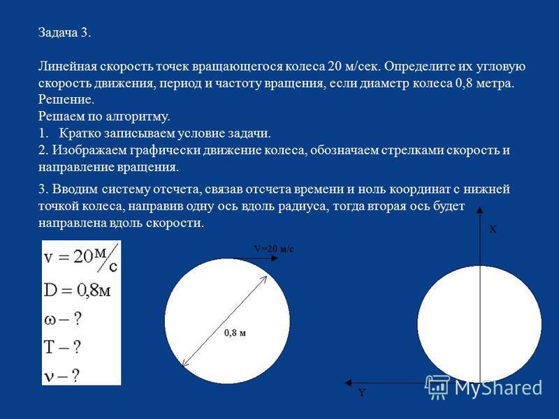 Задача 3. Линейная скорость точек вращающегося колеса 20 м / сек. Определите их угловую скорость движения, период и частоту вращения, если диаметр колеса 0,8 метра. Решение. Решаем по алгоритму. 1. Кратко записываем условие задачи. 2. Изображаем граф