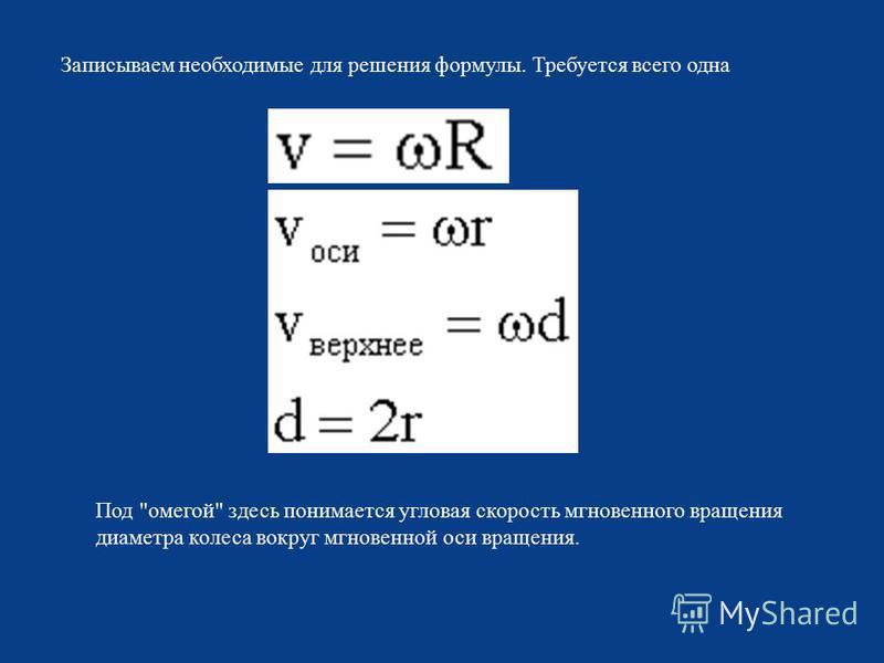 Записываем необходимые для решения формулы. Требуется всего одна Под  омегой  здесь понимается угловая скорость мгновенного вращения диаметра колеса вокруг мгновенной оси вращения.