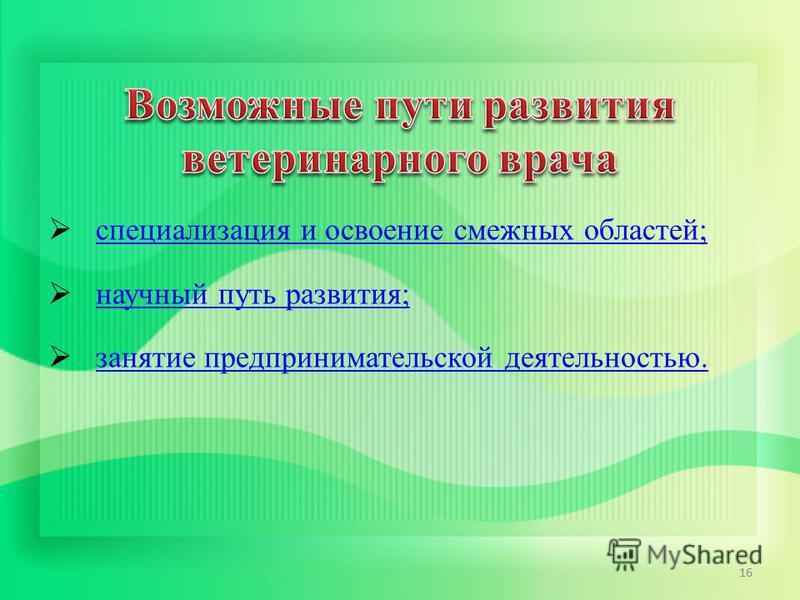 специализация и освоение смежных областей; научный путь развития; занятие предпринимательской деятельностью. 16
